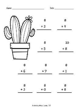 Kindergarten Math Fluency Addition 6-10 Worksheets (N.MR.00.09/K.OA.A.2)