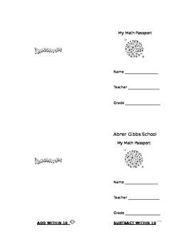 Kindergarten Math Fluency Passport