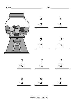 Kindergarten Math Fluency Subtraction 0-5 Worksheets (N.MR.00.09/K.OA.A.2)