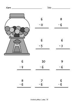 Kindergarten Math Fluency Subtraction 6-10 Worksheets (N.MR.00.09/K.OA.A.2)