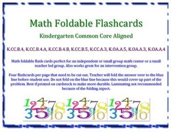 Kindergarten Math Foldable Flashcards