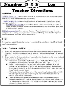 Kindergarten Math Folder: Number Log 0 - 20