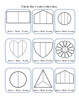 Kindergarten Math Fractions Circle Halves Thirds Fourths Shapes Printable