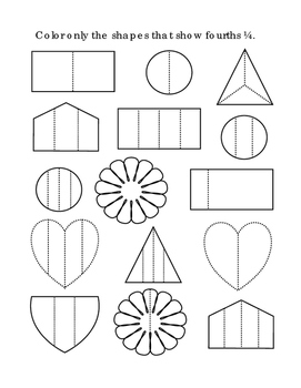 Kindergarten Math Fractions Fourths Color Shapes Common Co