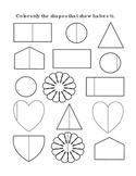 Kindergarten Math Fractions Halves Color Half Shapes Tools for Common Core Print