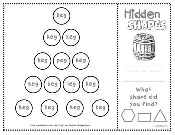 """Shapes: CVC Mystery Shapes """"Short E""""  (hexagon, rectangle, triangle)  K.G.2"""