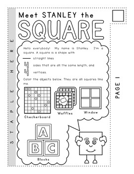 Kindergarten Math Geometry - MEET THE 2D SHAPES Tab Booklet and Posters