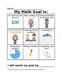 Kindergarten Math Goal Setting Sheet