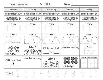 Kindergarten Math Homework 1 - 6 Weeks