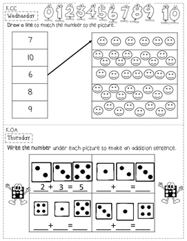 Kindergarten Math Homework - 1st Quarter