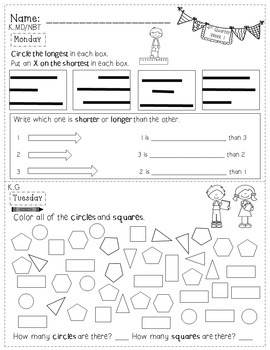 Kindergarten Math Homework - 4th Quarter