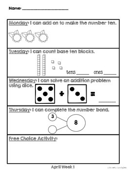 Kindergarten Math Homework {April}