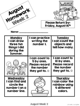 Kindergarten Math Homework {August}