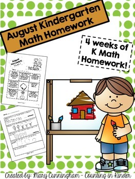 Kindergarten Math Homework {August}