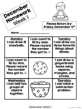 Kindergarten Math Homework {December}