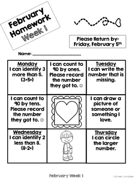Kindergarten Math Homework {February}