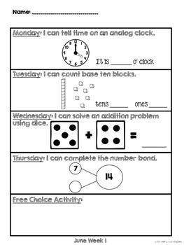 Kindergarten Math Homework {June}