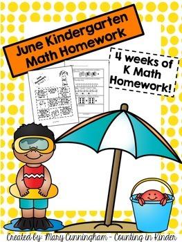Kindergarten Math Homework {June}