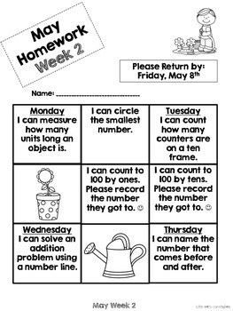 Kindergarten Math Homework {May}