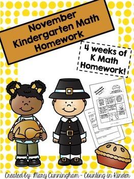 Kindergarten Math Homework {November}