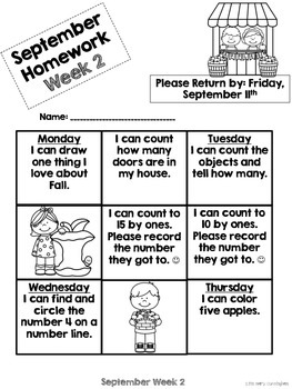 Kindergarten Math Homework {September}