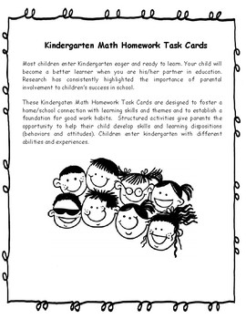 Kindergarten Math Task Cards | Kindergarten Math Homework Task Cards