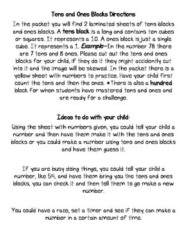 Kindergarten Math Homework Tens/Ones Blocks Dominos Tens Frames