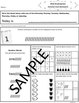Kindergarten Math Homework That Follows Common Core-Zaner Bloser Font