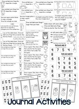 Kindergarten Math: Homework Unit 8