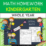 Kindergarten Math Homework - WHOLE YEAR - w/ Digital Option - Distance Learning