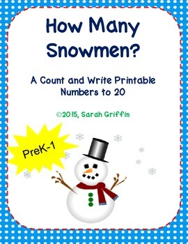 Kindergarten Math How Many Snowmen Count and Write numbers