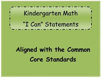 "Kindergarten Math ""I Can"" Statements"