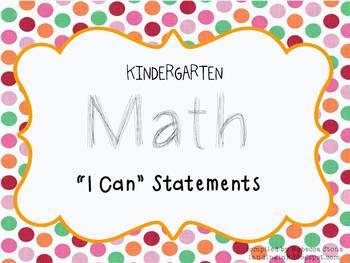 Kindergarten Math I Can Statements (Common Core)