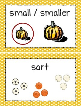 Kindergarten Math Illustrated Vocabulary Cards Measurement and Data