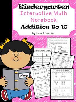 Kindergarten Math Interactive Notebook ~ Addition to 10