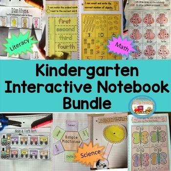 Kindergarten Interactive Notebooks Bundle~Literacy, Math, Science