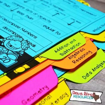 Kindergarten Math Interactive Notebook: Divider Tabs for Organization (TEKS)