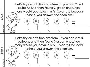 Kindergarten Math Interactive Notebook ~ Emergent Reader Style K.OA.2