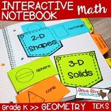 Kindergarten Math Interactive Notebook: Geometry- 2-D Shapes & 3-D Solids (TEKS)