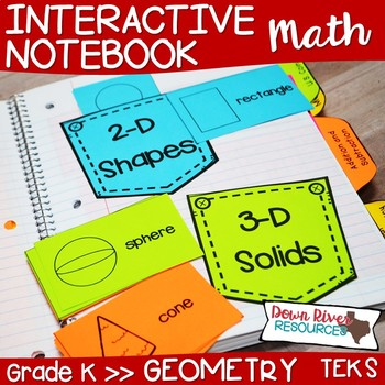 Kindergarten Math Interactive Notebook: Geometry- 2-D Shapes & 3-D Solids (TEKS)