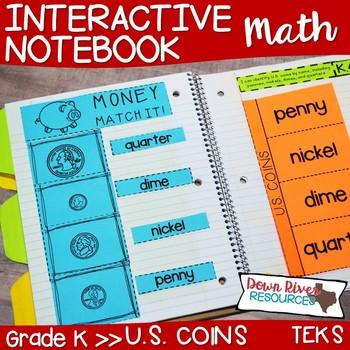 Kindergarten Math Interactive Notebook: Identifying U.S. Coins (TEKS)