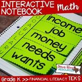 Kindergarten Math Interactive Notebook: Personal Financial Literacy (TEKS)