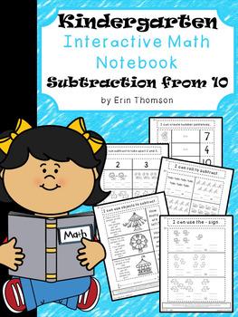 Kindergarten Math Interactive Notebook ~ Subtraction from 10