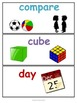 Common Core - Kindergarten Math Interactive Word Wall Vocabulary Cards