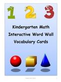 Common Core - Kindergarten Math Interactive Word Wall Voca
