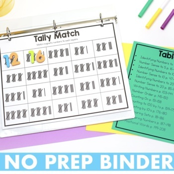 Kindergarten Math Intervention Binder
