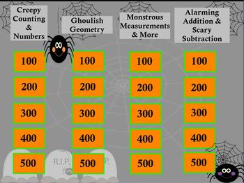 Kindergarten Math Jeopardy ~ CCSS Promethean Halloween Flipchart Party Game