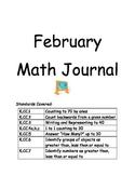 Kindergarten Math Journal - February COMMON CORE