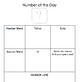 Kindergarten Math Journal: Number of the Day Pages 1-9