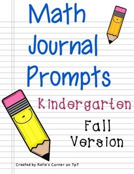 Kindergarten Math Journal Prompts - Fall